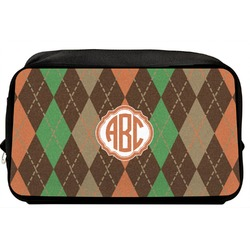 Brown Argyle Toiletry Bag / Dopp Kit (Personalized)