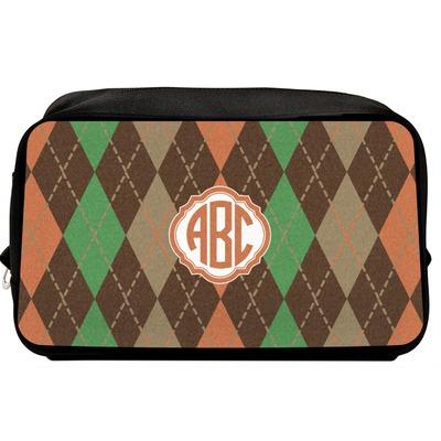 Brown Argyle Toiletry Bag / Dopp Kit (Personalized)