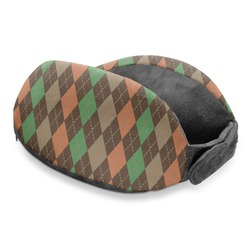 Brown Argyle Travel Neck Pillow (Personalized)
