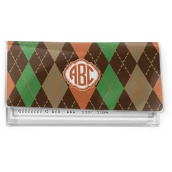 Brown Argyle Vinyl Check Book Cover (Personalized)