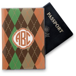 Brown Argyle Vinyl Passport Holder (Personalized)