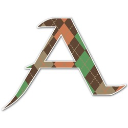 Brown Argyle Letter Decal - Custom Sized (Personalized)
