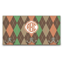 Brown Argyle Wall Mounted Coat Rack (Personalized)