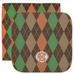 Brown Argyle Facecloth / Wash Cloth (Personalized)