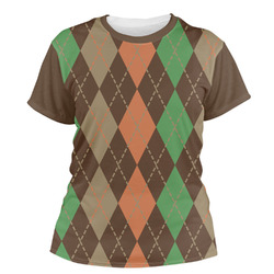 Brown Argyle Women's Crew T-Shirt (Personalized)