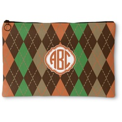 Brown Argyle Zipper Pouch (Personalized)