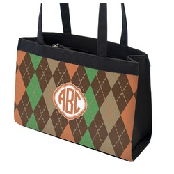 Brown Argyle Zippered Everyday Tote (Personalized)