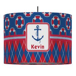 Buoy & Argyle Print Drum Pendant Lamp (Personalized)