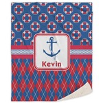 Buoy & Argyle Print Sherpa Throw Blanket (Personalized)
