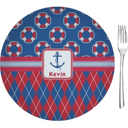 "Buoy & Argyle Print Glass Appetizer / Dessert Plates 8"" - Single or Set (Personalized)"