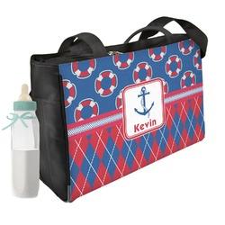 Buoy & Argyle Print Diaper Bag w/ Name or Text