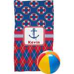Buoy & Argyle Print Beach Towel (Personalized)