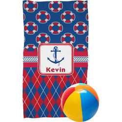 Buoy & Argyle Print Beach Towel (Personalized)
