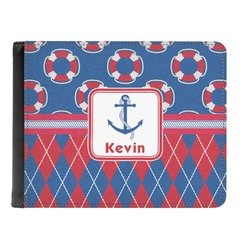 Buoy & Argyle Print Genuine Leather Men's Bi-fold Wallet (Personalized)