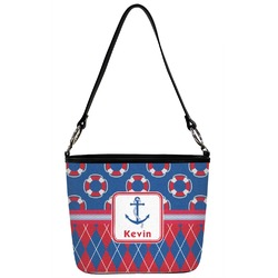 Buoy & Argyle Print Bucket Bag w/ Genuine Leather Trim (Personalized)