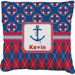 Buoy & Argyle Print Faux-Linen Throw Pillow (Personalized)