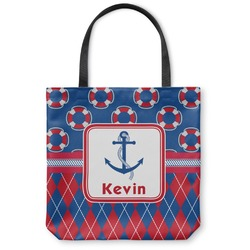 Buoy & Argyle Print Canvas Tote Bag (Personalized)