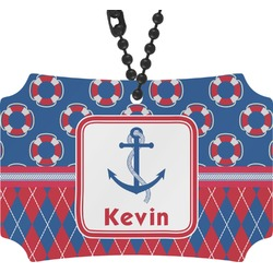 Buoy & Argyle Print Rear View Mirror Ornament (Personalized)