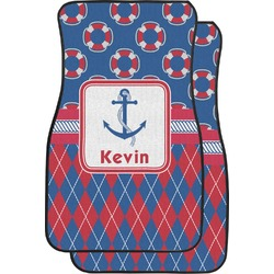 Buoy & Argyle Print Car Floor Mats (Front Seat) (Personalized)
