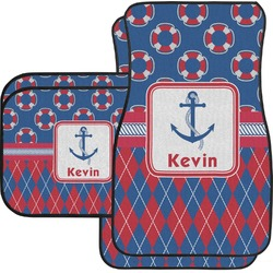 Buoy & Argyle Print Car Floor Mats Set - 2 Front & 2 Back (Personalized)