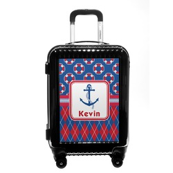 Buoy & Argyle Print Carry On Hard Shell Suitcase (Personalized)
