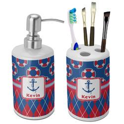 Buoy & Argyle Print Ceramic Bathroom Accessories Set (Personalized)