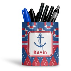 Buoy & Argyle Print Ceramic Pen Holder
