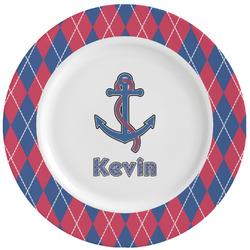 Buoy & Argyle Print Ceramic Dinner Plates (Set of 4) (Personalized)
