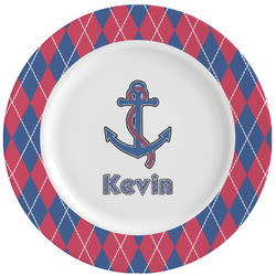 Buoy & Argyle Print Ceramic Dinner Plates (Set of 4) (Personalized)
