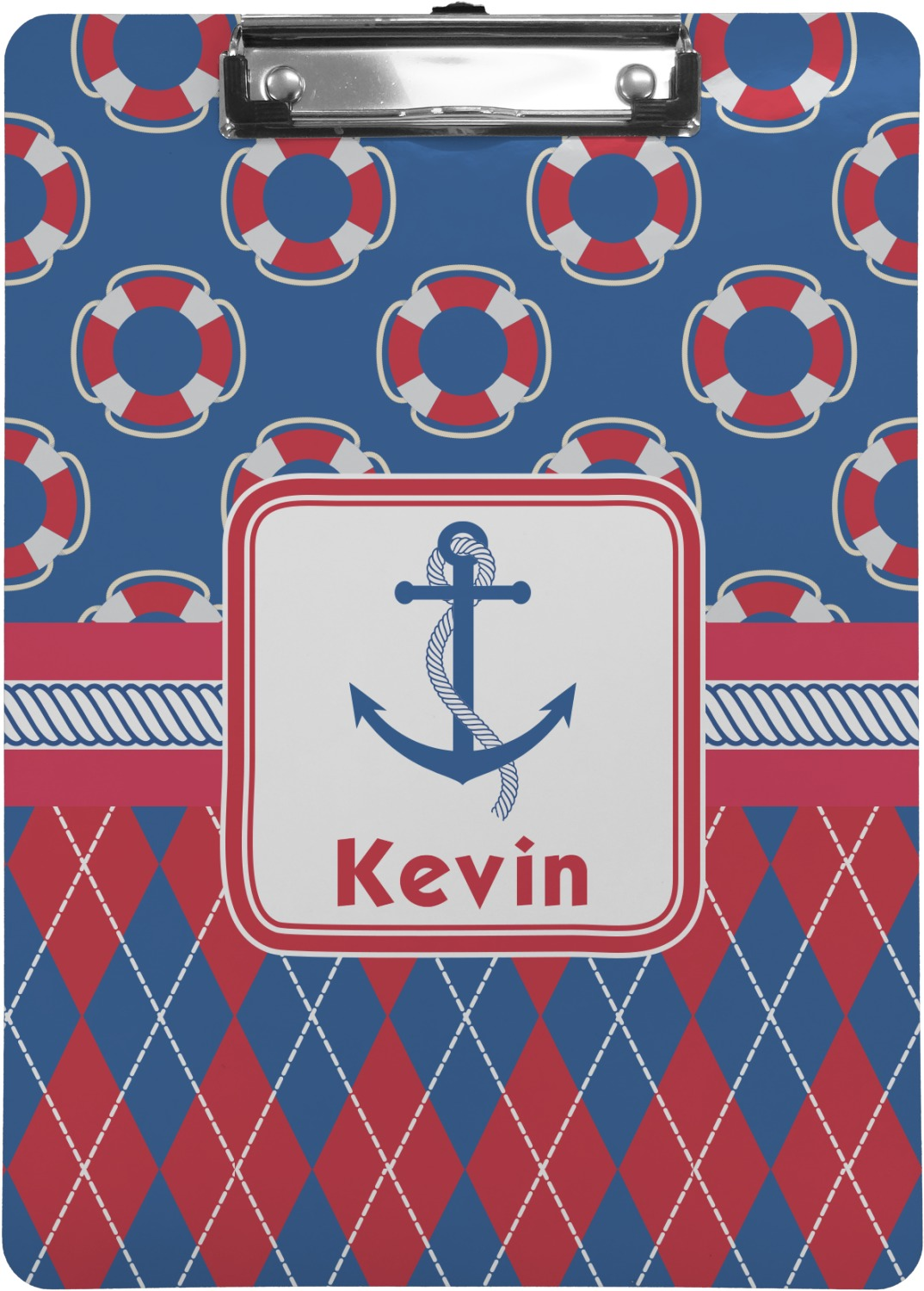 Buoy Amp Argyle Print Clipboard Letter Size Personalized