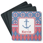 Buoy & Argyle Print 4 Square Coasters - Rubber Backed (Personalized)