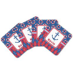 Buoy & Argyle Print Cork Coaster - Set of 4 w/ Name or Text