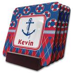 Buoy & Argyle Print Coaster Set w/ Stand (Personalized)