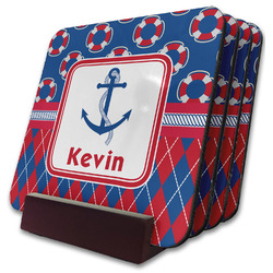 Buoy & Argyle Print Coaster Set w/ Stand (Personalized)