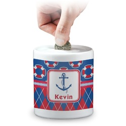Buoy & Argyle Print Coin Bank (Personalized)