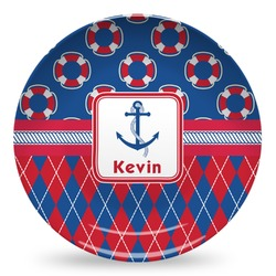 Buoy & Argyle Print Microwave Safe Plastic Plate - Composite Polymer (Personalized)