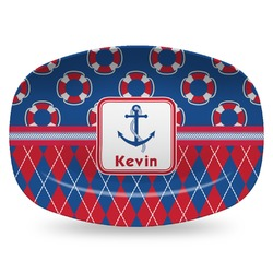 Buoy & Argyle Print Plastic Platter - Microwave & Oven Safe Composite Polymer (Personalized)