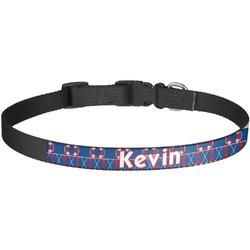 Buoy & Argyle Print Dog Collar - Large (Personalized)