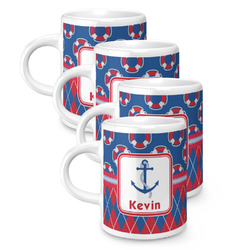 Buoy & Argyle Print Espresso Mugs - Set of 4 (Personalized)
