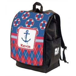 Buoy & Argyle Print Backpack w/ Front Flap  (Personalized)