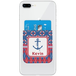 Buoy & Argyle Print Genuine Leather Adhesive Phone Wallet (Personalized)