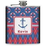 Buoy & Argyle Print Genuine Leather Flask (Personalized)