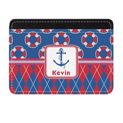 Buoy & Argyle Print Genuine Leather Front Pocket Wallet (Personalized)