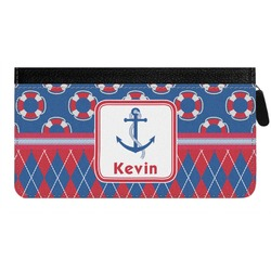 Buoy & Argyle Print Genuine Leather Ladies Zippered Wallet (Personalized)