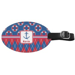 Buoy & Argyle Print Genuine Leather Luggage Tag (Personalized)