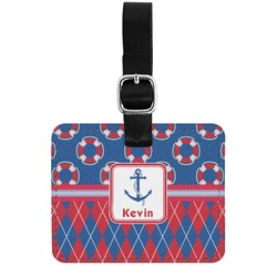 Buoy & Argyle Print Genuine Leather Rectangular  Luggage Tag (Personalized)