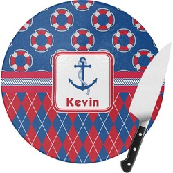 Buoy & Argyle Print Round Glass Cutting Board (Personalized)
