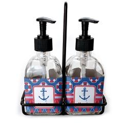Buoy & Argyle Print Soap & Lotion Dispenser Set (Glass) (Personalized)