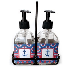 Buoy & Argyle Print Soap & Lotion Dispenser Set (Glass) (Personalized)
