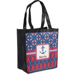 Buoy & Argyle Print Grocery Bag (Personalized)